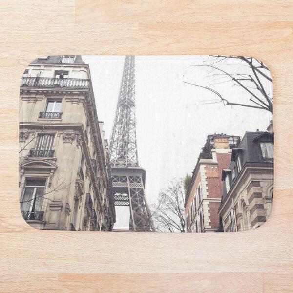 Paris streets, Eiffel tower, city skyline, industrial fine art photo, shabby chic Bath Mat