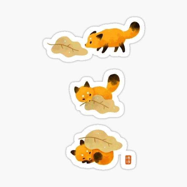 Fox and leaf blanket Sticker