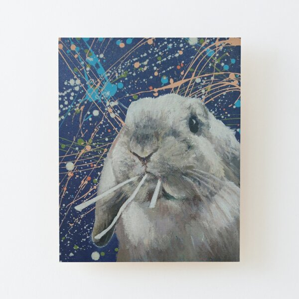 'Snoopy!'  Cute bunny painting with abstract background Wood Mounted Print