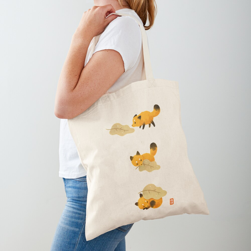 Fox and leaf blanket Tote Bag