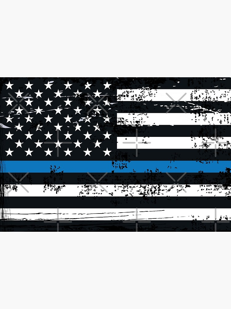 USA Flag The thin blue line I back the blue USA MAGA Law Enforcement and policemen Grunge style vertical on black background by iresist