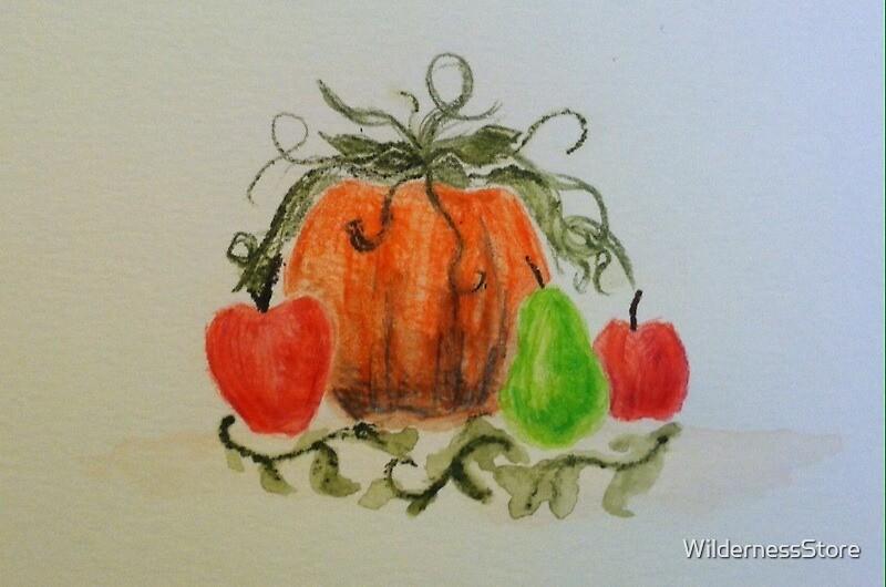 Harvest Arrangement Watercolor Pencil by WildernessStore