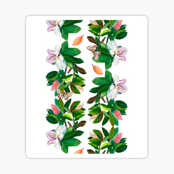 Reflected Magnolia with Butterflies Sticker