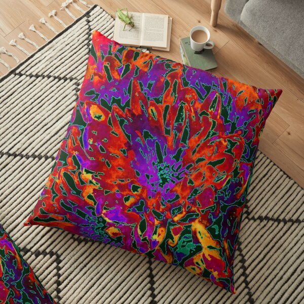 CRAZY COLOURFUL CORAL CARNAGE Floor Pillow