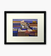 """Desert Rocks"" - colorful stacks of Arizona rocks. Framed Print"