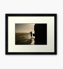 Woman and Blue Parasol     Framed Print