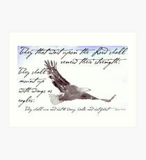 Flying Eagle Watercolor with Isaiah 40:31 Overlay Art Print