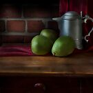 Pear and Pitcher Still Life by Nancy Bray