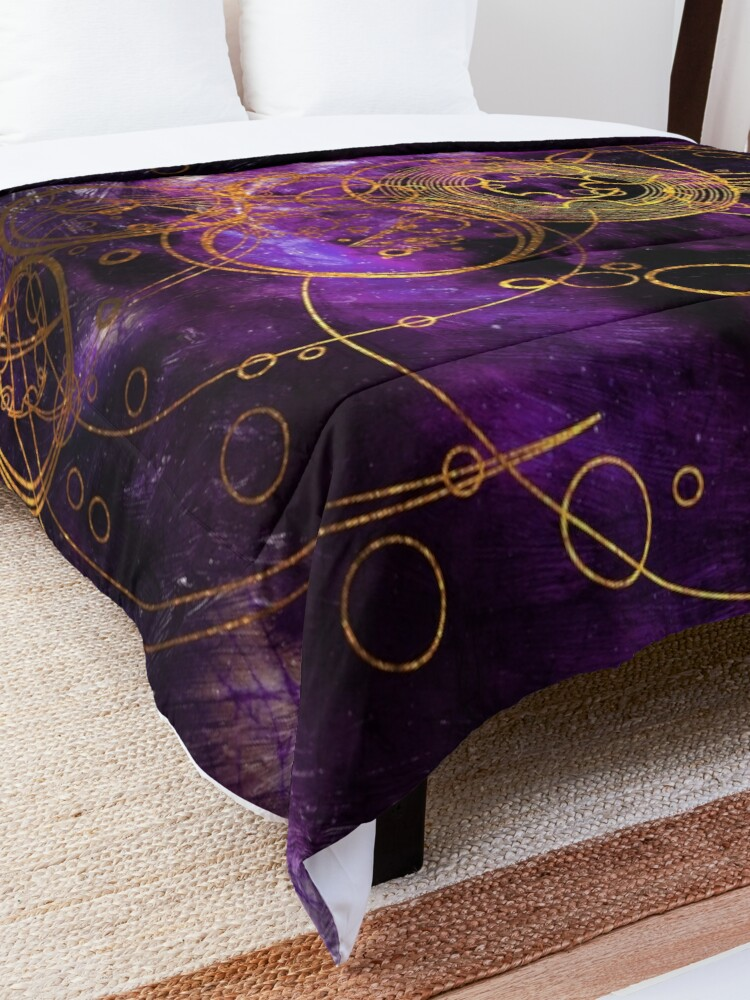 Alternate view of Time Lord Writing (purple) Comforter