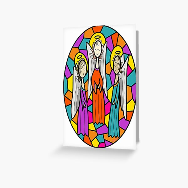 Skinny Seraphim Angels Greeting Card