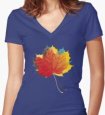 Autumn leaves red yellow on blue Fitted V-Neck T-Shirt