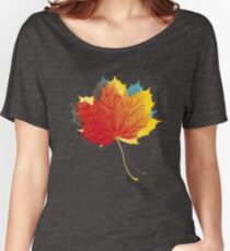 Autumn leaves red yellow on blue Relaxed Fit T-Shirt