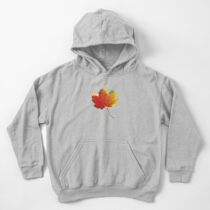 Autumn leaves red yellow on blue Kids Pullover Hoodie