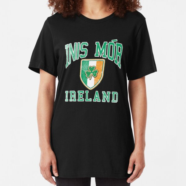 Inis Mor, Ireland with Shamrock Slim Fit T-Shirt
