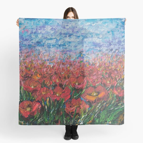 Red Poppy Field With a Palette Knife  Scarf