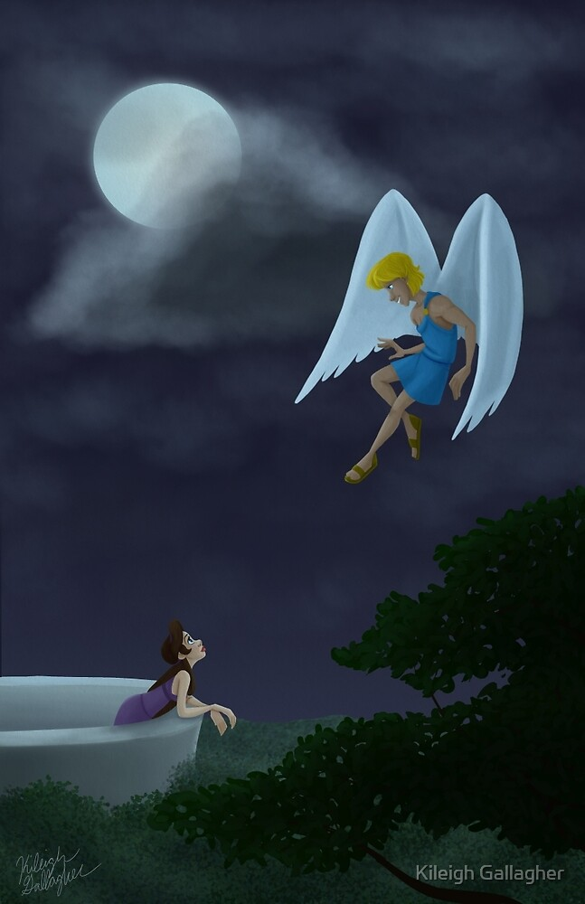 Cupid and Psyche meet in the moonlight by Kileigh Gallagher