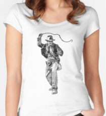 Indiana Jones Hand-drawing Women's Fitted Scoop T-Shirt