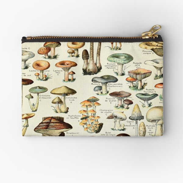 Champignon I Vintage French Mushroom Chart by Adolphe Millot Zipper Pouch