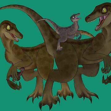 Velociraptor Family by CharlieNoHead