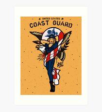 SJ Inspired Coast Guard Pinups - USCG Ensign Art Print