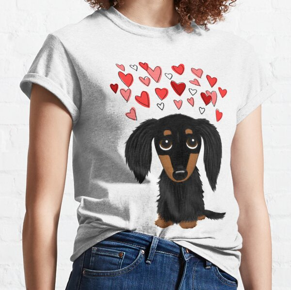 Black and Tan Longhaired Dachshund with Hearts Classic T-Shirt