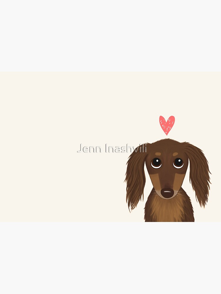 Longhaired Chocolate Dachshund | Cute Wiener Dog with Heart by ShortCoffee