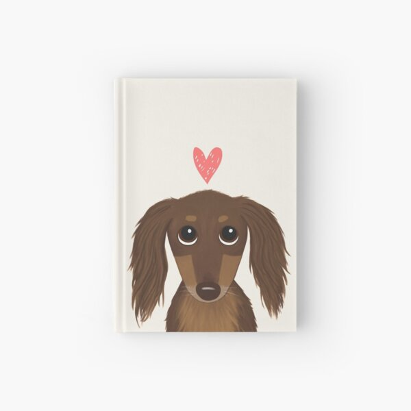 Longhaired Chocolate Dachshund | Cute Wiener Dog with Heart Hardcover Journal