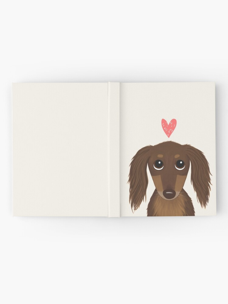 Alternate view of Longhaired Chocolate Dachshund | Cute Wiener Dog with Heart Hardcover Journal