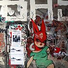 red bunny in Berlin by yosshie