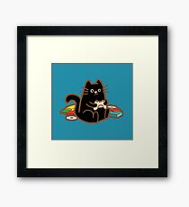 Gamer Cat in blue Framed Print