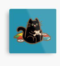 Gamer Cat in blue Metal Print
