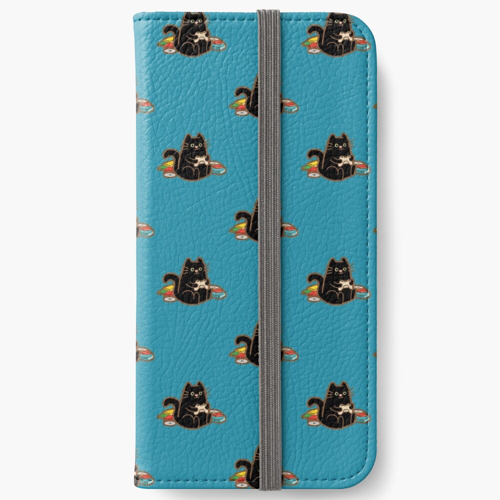 Gamer Cat in blue iPhone Wallet