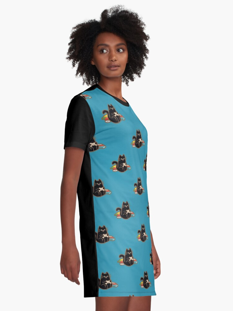 Alternate view of Gamer Cat in blue Graphic T-Shirt Dress