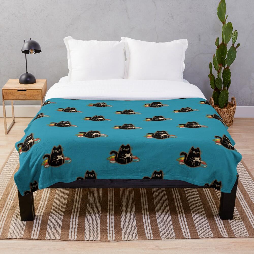 Gamer Cat in blue Throw Blanket