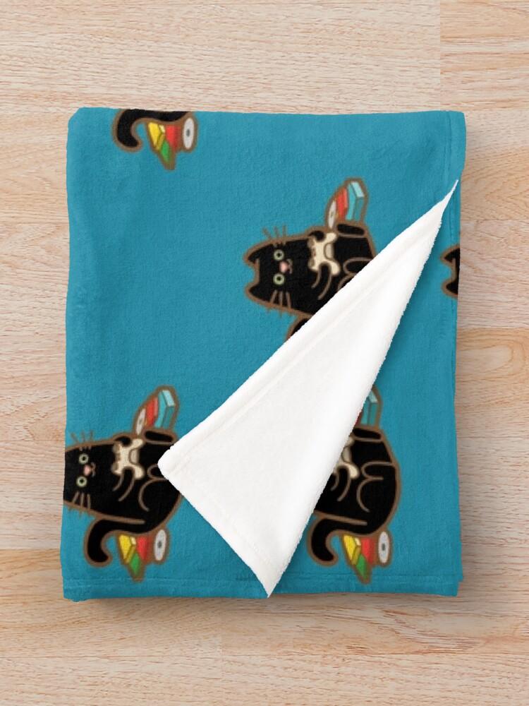 Alternate view of Gamer Cat in blue Throw Blanket