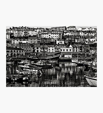 Brixham Harbour Mono Photographic Print