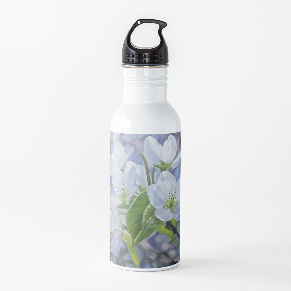 Pear Blossoms - spring flowers oil painting Water Bottle