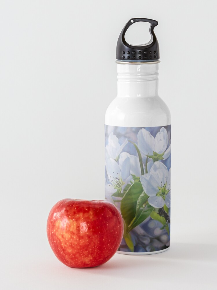 Alternate view of Pear Blossoms - spring flowers oil painting Water Bottle