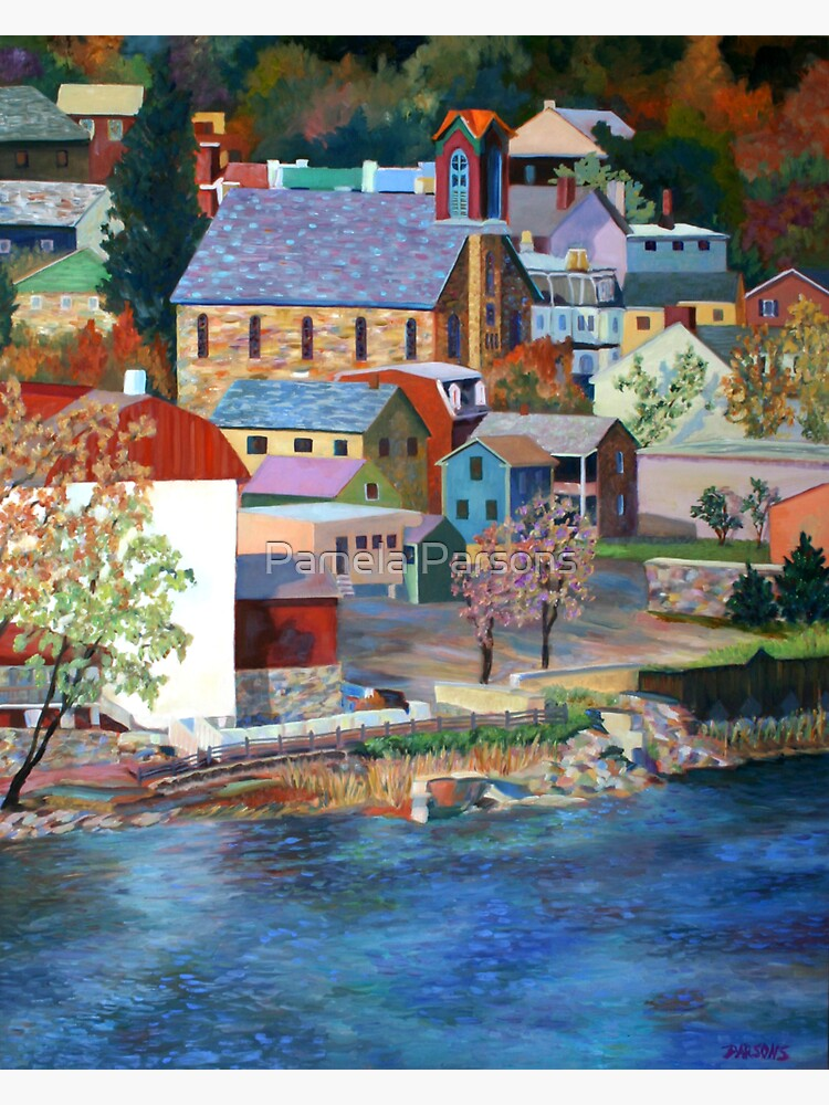 Autumn on the Delaware River in New Hope, Bucks County, Pennsylvania. From an oil painting by Pamela Parsons. by parsonsp