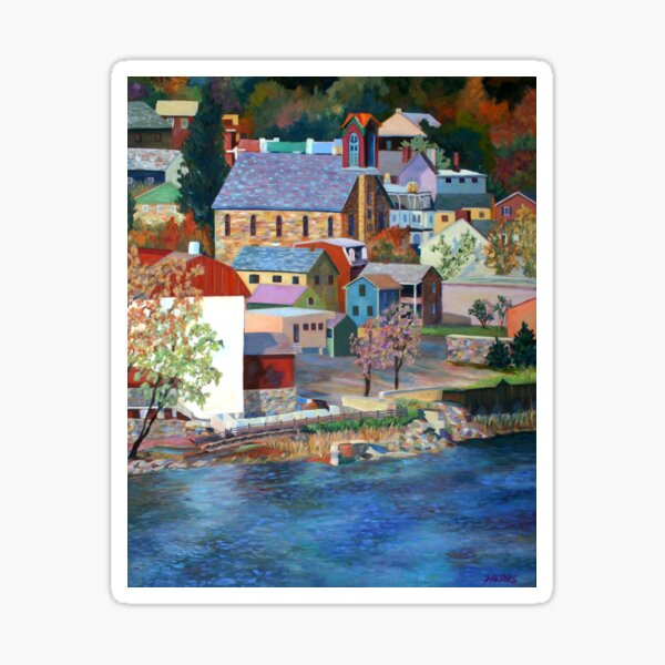 Autumn on the Delaware River in New Hope, Bucks County, Pennsylvania. From an oil painting by Pamela Parsons. Sticker