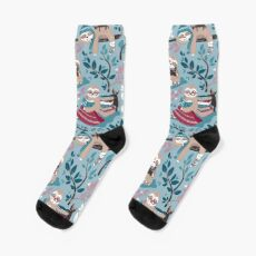 Hygge sloth // small scale // pale blue and red Socks