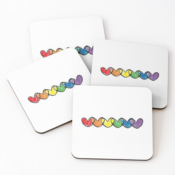 LGBT handrawn hearts rainbow flag on black Gay Lesbian Bisexual Pride interlaced hearts love is love Coasters (Set of 4)