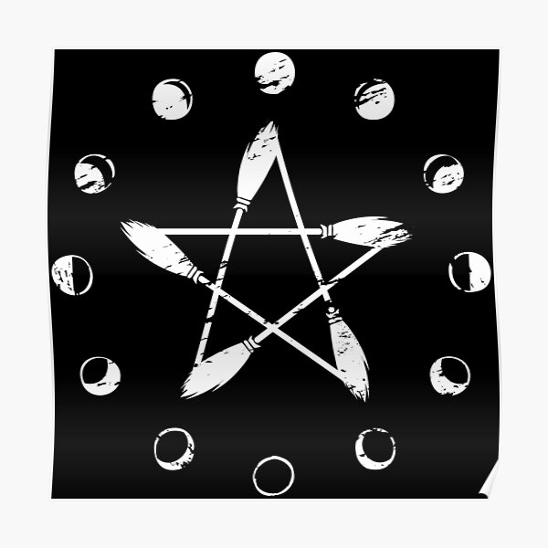 Moon Phase Broom Pentacle Poster