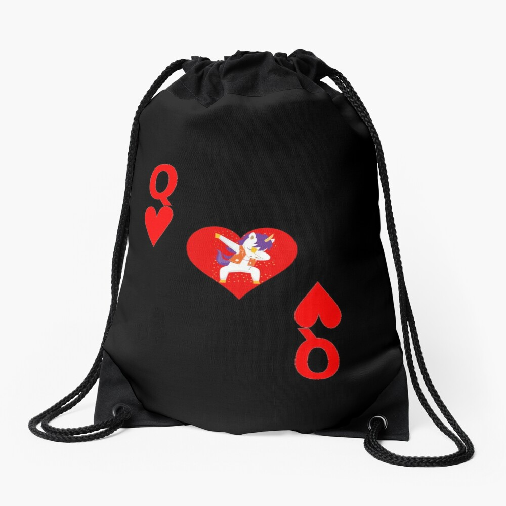 Unicorn Queen of Hearts, Deck of Cards, Dabbing Unicorn Costume. Drawstring Bag