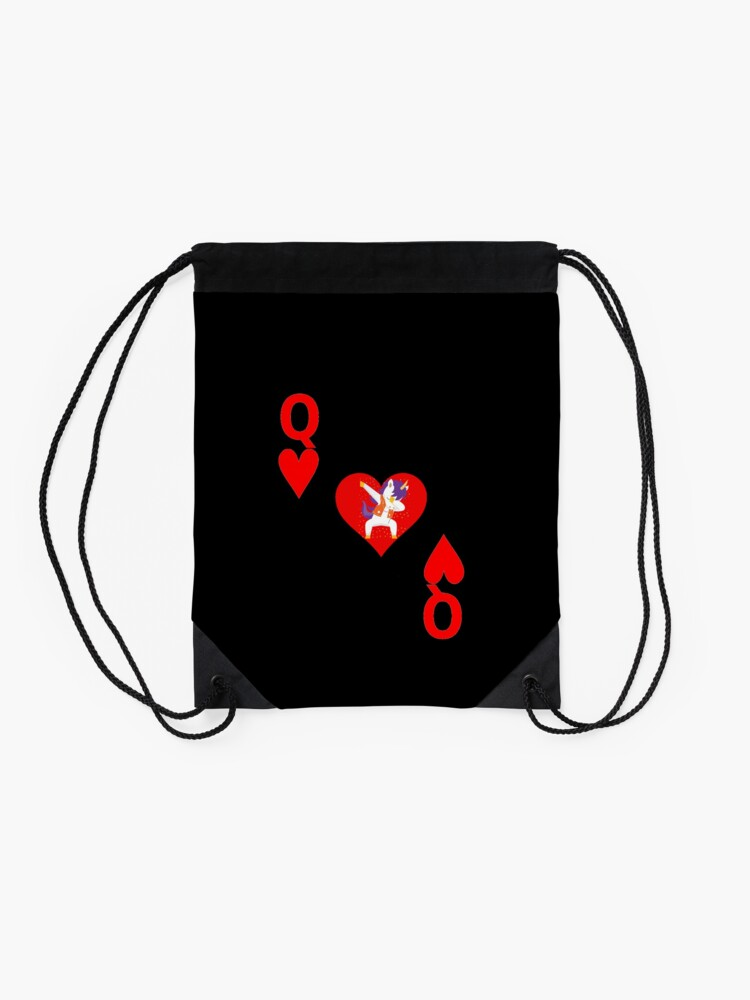 Alternate view of Unicorn Queen of Hearts, Deck of Cards, Dabbing Unicorn Costume. Drawstring Bag