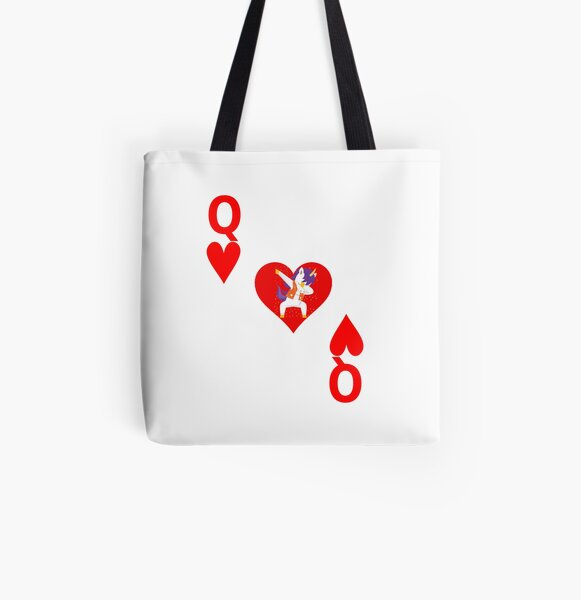 Queen of Hearts, Deck of Cards, Dabbing Unicorn Costume. All Over Print Tote Bag