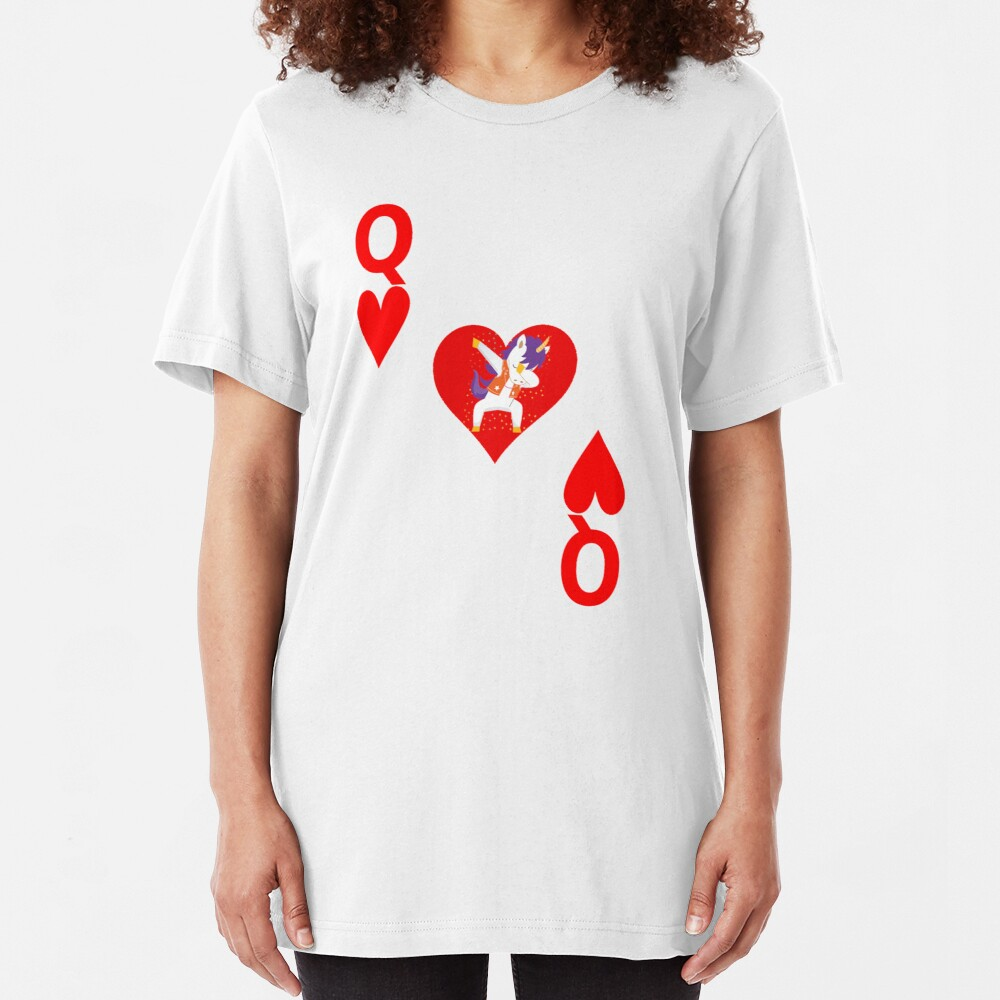 Unicorn Queen of Hearts, Deck of Cards, Dabbing Unicorn Costume. Slim Fit T-Shirt