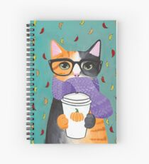 Calico Autumn Coffee Cat Spiral Notebook
