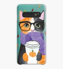 Calico Autumn Coffee Cat Case/Skin for Samsung Galaxy