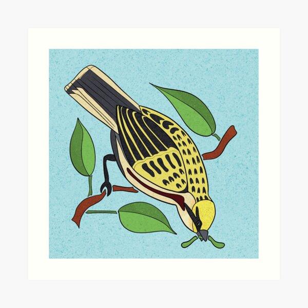 Yellow Bird Chestnut-Sided Warbler Songbird 2 of 9 Art Print